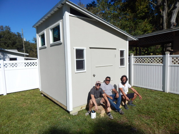 Stucco exterior portable building Jax Shed
